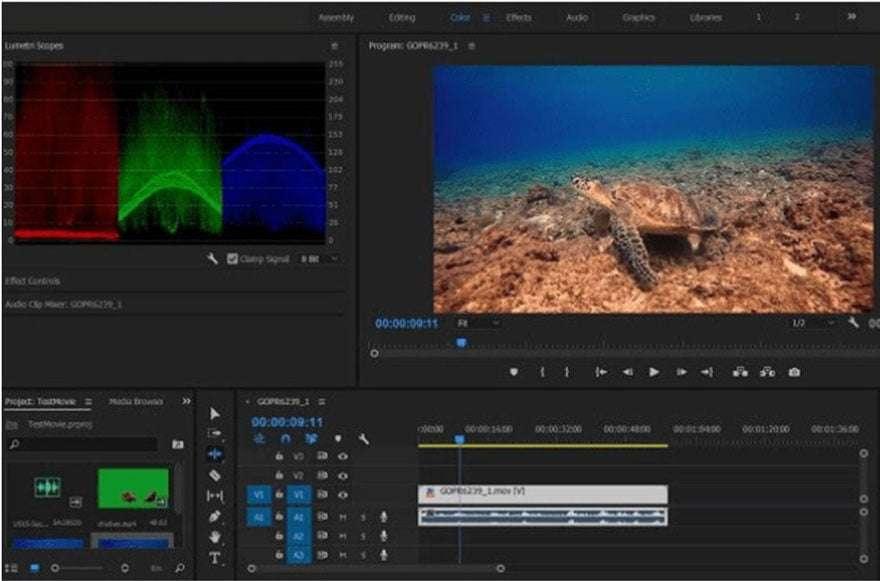 Screen grab of adobe premiere pro interface