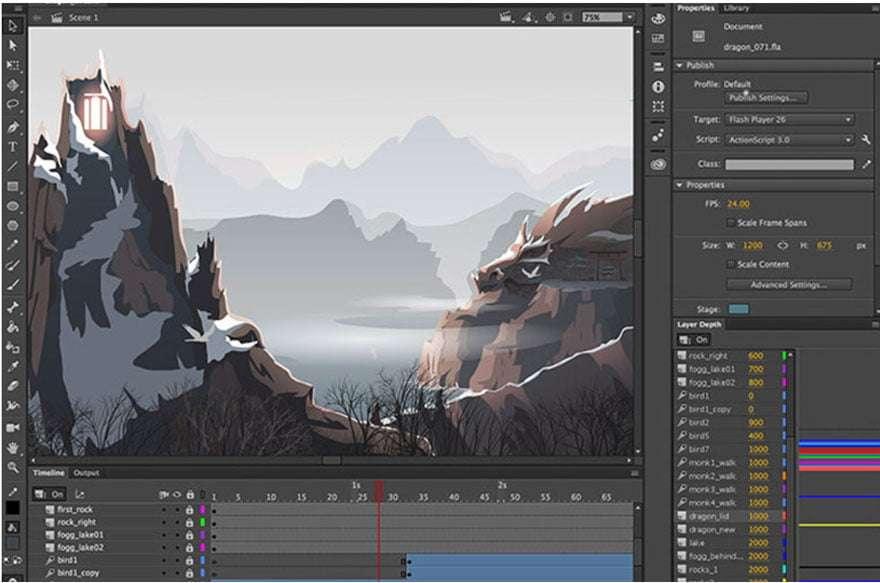 Screengrab of Adobe animate interface