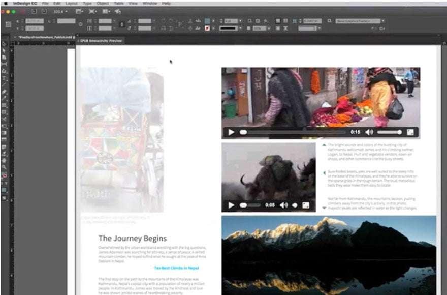 Screengrab of Adobe indesign interface